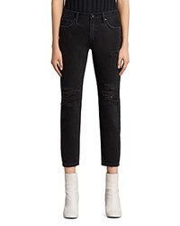 Allsaints Muse Slim Destroy Jeans In Washed Black