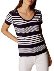 Karen Millen Stripe Studded T Shirt Blue Multi