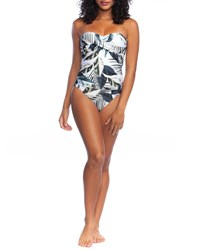 Lablanca Moment Of Zen Printed Bandeau One Piece Swimsuit Blue