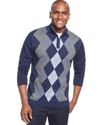 Tasso Elba Big And Tall Quarter Zip Argyle Sweater Only At Macy's Blue Twist Combo