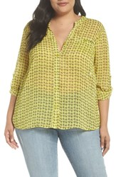 Kut From The Kloth Plus Size Jasmine Floral Roll Sleeve Top