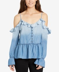 William Rast Wolfe Ruffled Cold Shoulder Top Goodtimes