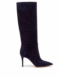 Gianvito Rossi Slouchy 85 Knee High Suede Boots Navy