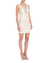 Laundry By Shelli Segal Embellished Jacquard Sheath Dress Ivory Gold