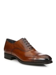 To Boot Medallion Leather Cap Toe Oxfords Tan Black
