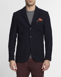 Scotch And Soda Navy Blue Patch Pocket Wool Jacket