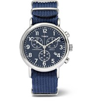 Timex Weekender Stainless Steel And Webbing Chronograph Watch Navy