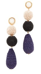 Lizzie Fortunato Siesta Earrings Gold Black Cream Navy
