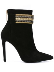 Balmain Pierre Embellished Strap Ankle Boots Black