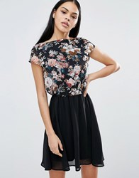 Pussycat London Floral Top Skater Dress Black