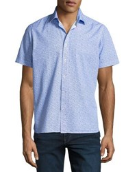 Neiman Marcus Wallpaper Print Short Sleeve Shirt Blue