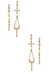 Luv Aj The Celestial Hanging Studs Set Metallic Gold