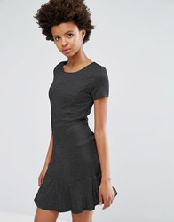 Dex Drop Hem Jacquard Dress Black