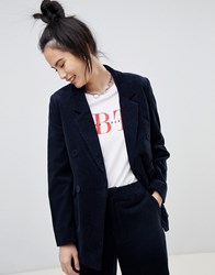 Pull And Bear Pullandbear Double Breasted Cord Blazer In Navy