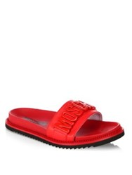 Moschino Logo Slide Leather Sandals Red