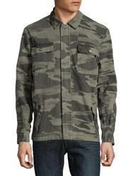 Nana Judy Camo Print Cotton Button Down Shirt Grey