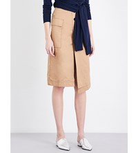 Moandco. High Rise Cotton Skirt Bronze Brown