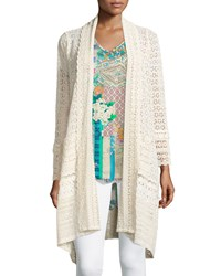 Johnny Was Long Crochet Open Jacket Natural Women's