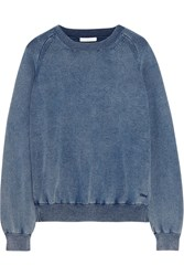 Chloe Denim Effect Cotton Blend Jersey Sweatshirt Blue