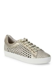 Joie Duha Perforated Woven Metallic Leather Sneakers White Gold