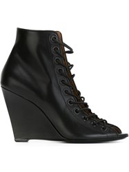 Givenchy Lace Up Wedge Pumps Black