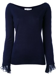 Oscar De La Renta Knitted Top Women Silk Virgin Wool M Blue