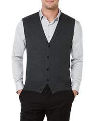 Perry Ellis Honeycomb Stitched Sweater Vest Charcoal