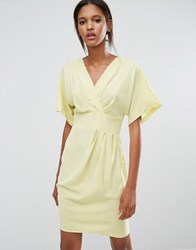 Closet London Cross Over Kimono Dress Pale Yellow