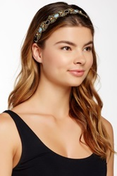Cara Accessories Beaded Stretch Headband Metallic