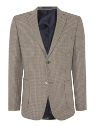 Peter Werth Keith Dogtooth Patch Pocket Blazer Sand