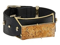 Alexis Bittar Geometric Leather Band Buckle Bracelet With Custom Baguette 10K Gold Bracelet