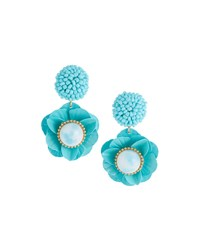 Lydell Nyc Floral Drop Earrings Teal