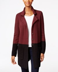 Styleandco. Style Co. Colorblocked Sweater Jacket Only At Macy's Dried Plum Black