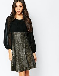 Traffic People Encore Dress With Metallic Skirt Gold