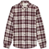 Acne Studios Sarkis Woven Check Shirt Burgundy
