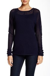 Vince Mesh Chevron Crew Sweater Blue