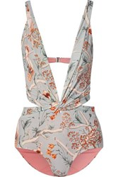 Johanna Ortiz Cleating Hitch Twist Front Cutout Printed Swimsuit Light Green