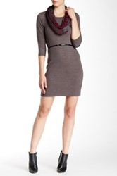 A. Byer Belted Sweater Dress Gray