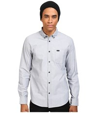 Rvca That'll Do Oxford L S Pavement Long Sleeve Button Up Gray