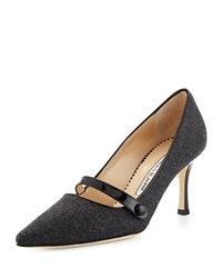Manolo Blahnik Mladar Flannel Mary Jane Pump Medium Gray