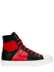 Amiri Sunset Leather High Top Sneakers Black Red