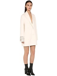 Valentino Embroidered Compact Short Coat Ivory