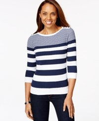 Karen Scott Striped Cable Knit Sweater Only At Macy's