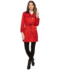 Vince Camuto Db Belted Trench With Contrast Color And Roll Up Sleeves Poppy Coat Red