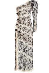Alessandra Rich One Shoulder Lace Gown Multicolored