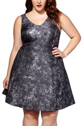 Mblm By Tess Holliday Plus Size Women's Metallic Print Ponte Fit And Flare Dress