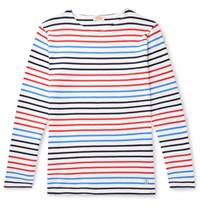 Armor Lux Striped Cotton Jersey T Shirt White