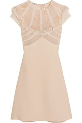 Miu Miu Lace And Organza Trimmed Cady Mini Dress Blush