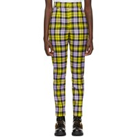 Versace Yellow And Purple Cropped Plaid Trousers