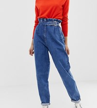 Asos Design Tall Paper Bag Boyfriend Jeans In Mid Vintage Wash With Buckle Detail Blue